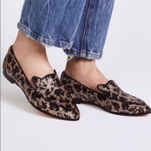 Kate Spade Caty Leopard Sequin Slip on Loafer